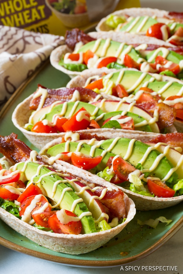 Quick Whole Wheat BLT Tacos for Back to School! | ASpicyPerspective.com