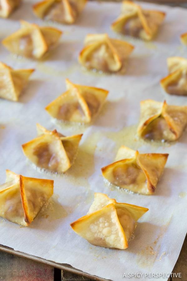 Best 5-Ingredient Apple Pie Cream Cheese Wontons | ASpicyPerspective.com