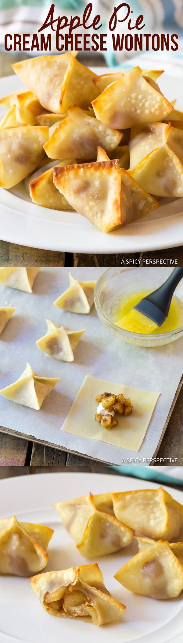 Easy 5-Ingredient Apple Pie Cream Cheese Wontons | ASpicyPerspective.com