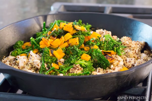 Must-Make Healthy One-Pot Chicken Broccoli Quinoa Skillet Recipe | ASpicyPerspective.com