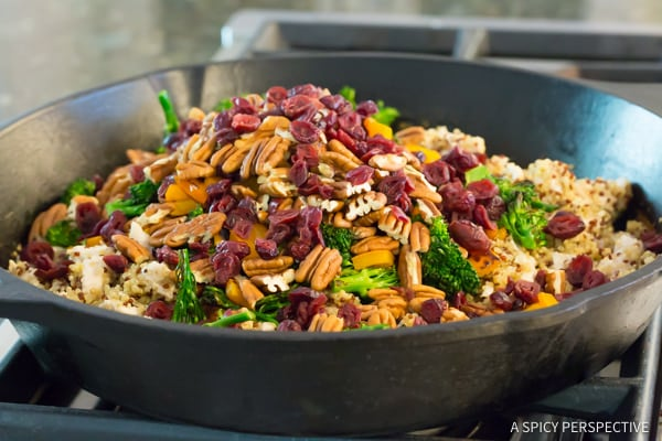 Amazing Healthy One-Pot Chicken Broccoli Quinoa Skillet Recipe | ASpicyPerspective.com