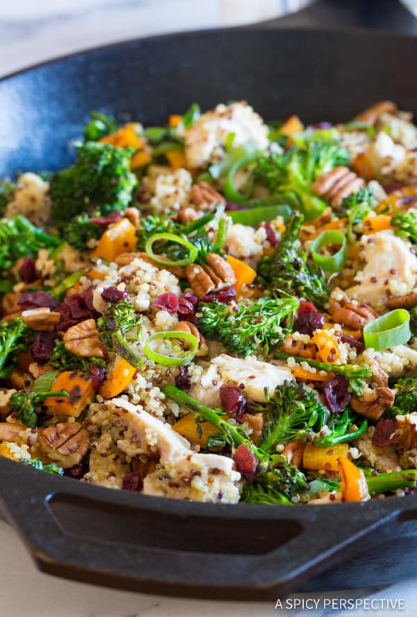 Perfect Healthy One-Pot Chicken Broccoli Quinoa Skillet Recipe | ASpicyPerspective.com