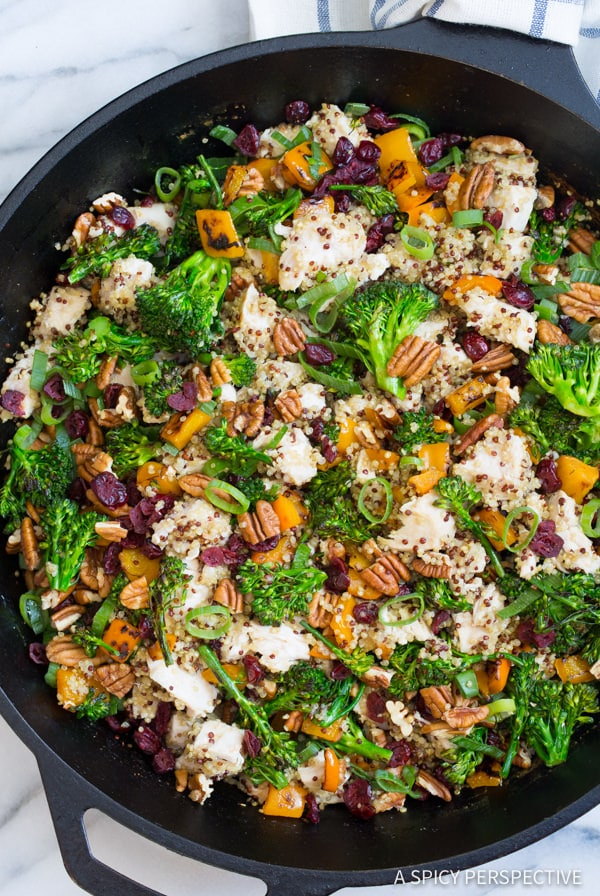Easy Healthy Chicken Broccoli Quinoa Skillet Recipe | ASpicyPerspective.com