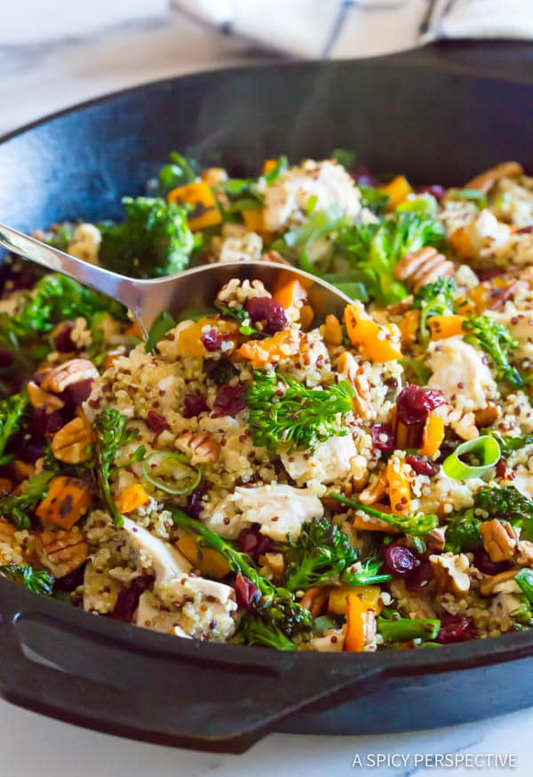 Love this Healthy One-Pot Chicken Broccoli Quinoa Skillet Recipe | ASpicyPerspective.com