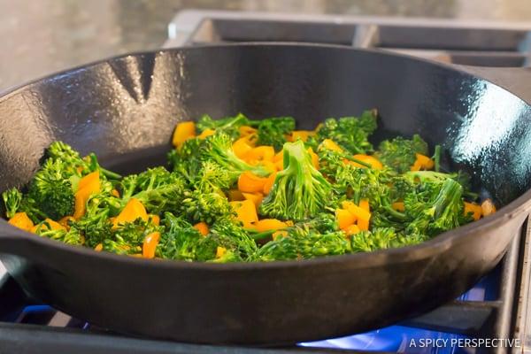 Making Healthy One-Pot Chicken Broccoli Quinoa Skillet Recipe   ASpicyPerspective.com