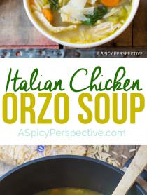 Amazing Italian Chicken Orzo Soup (Healthy and Delicious!) | ASpicyPerspective.com