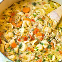 Creamy Chicken Tortellini Soup | ASpicyPerspective.com