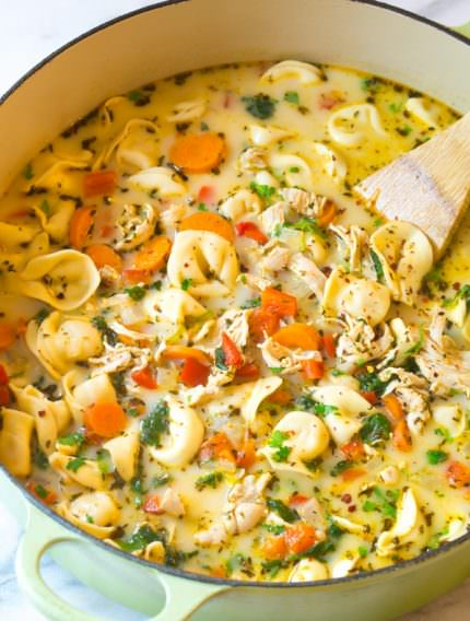 Creamy Chicken Tortellini Soup | ASpicyPerspective.com
