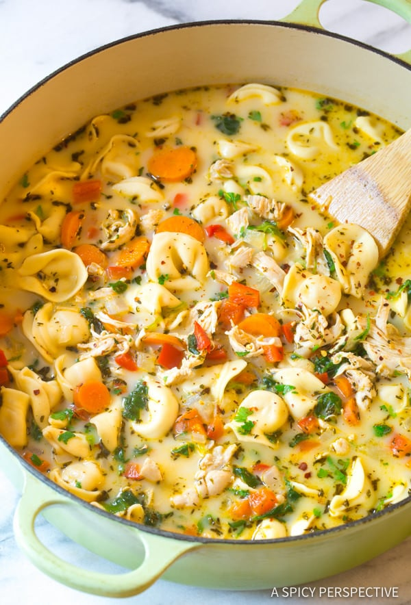 Creamy Chicken Tortellini Soup Video A Spicy Perspective