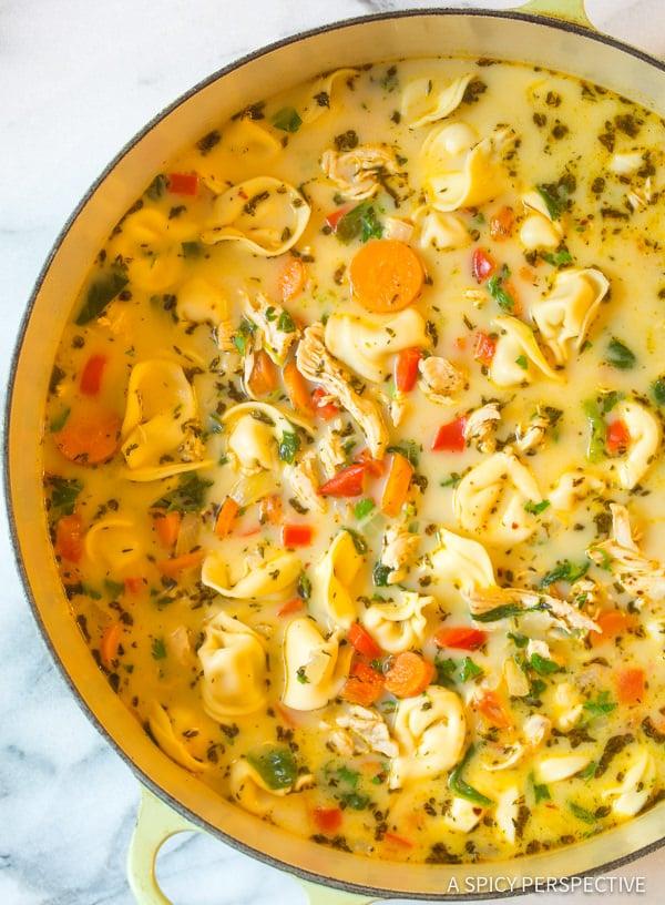 Light Creamy Chicken Tortellini Soup | ASpicyPerspective.com