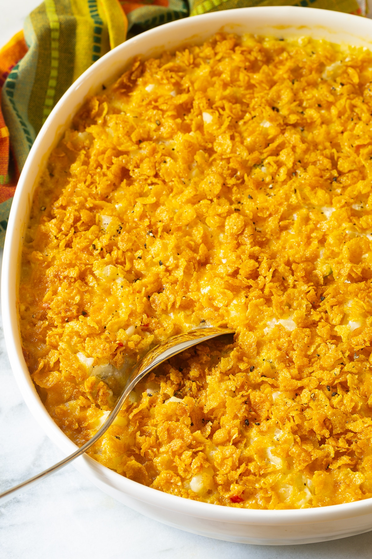 7-Ingredient Funeral Potatoes Recipe #ASpicyPerspective #potato #potatoes #funeral #company #hashbrowns #casserole #baked #holiday