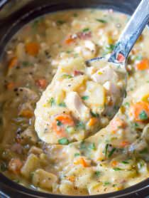 Healthy Slow Cooker Chicken Potato Soup | ASpicyPerspective.com
