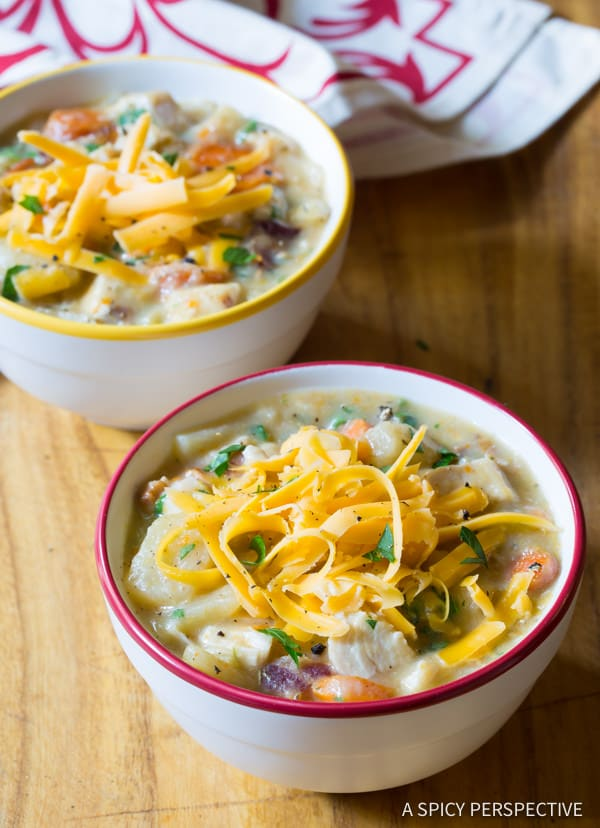 Awesome Healthy Slow Cooker Chicken Potato Soup | ASpicyPerspective.com #lowfat #glutenfree #dairyfree