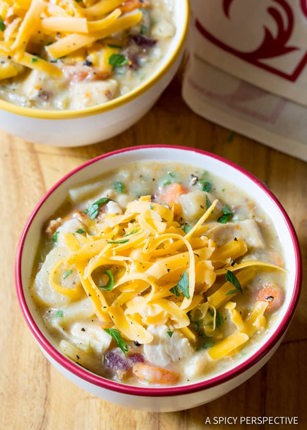 The Best Healthy Slow Cooker Chicken Potato Soup | ASpicyPerspective.com #lowfat #glutenfree #dairyfree