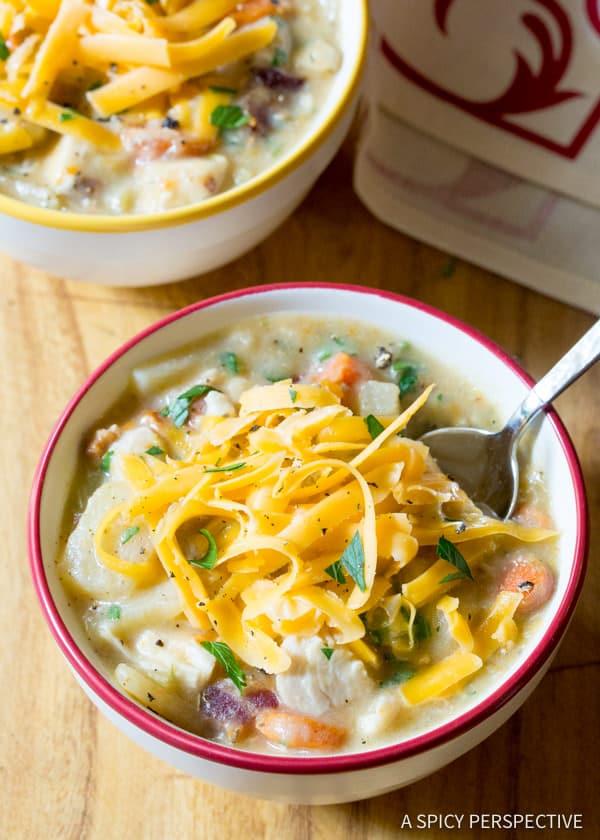 Easy Healthy Slow Cooker Chicken Potato Soup | ASpicyPerspective.com