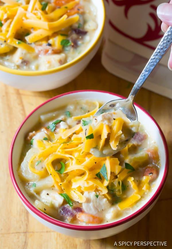 Best Healthy Slow Cooker Chicken Potato Soup | ASpicyPerspective.com #lowfat #glutenfree #dairyfree