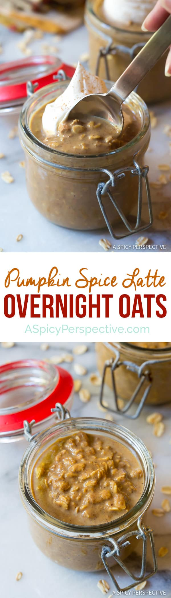 Easy Pumpkin Spice Latte Overnight Oatmeal Recipe | ASpicyPerspective.com