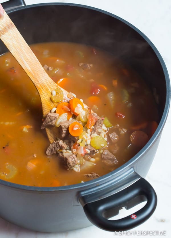 Making the Perfect Beef Barley Soup Recipe | ASpicyPerspective.com