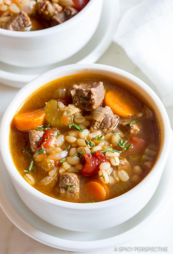 Healthy Perfect Beef Barley Soup Recipe   ASpicyPerspective.com