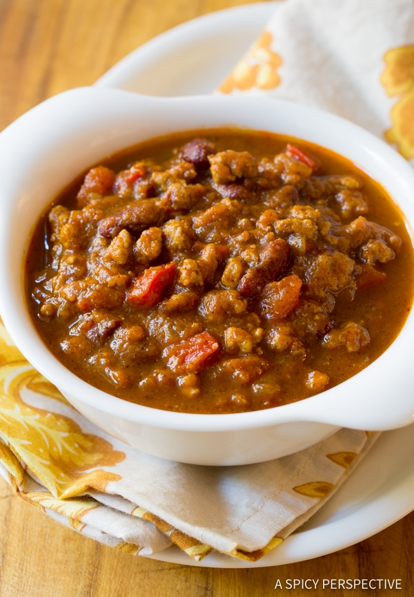 Love this Pumpkin Chili Recipe (Healthy and Gluten Free!) | ASpicyPerspective.com