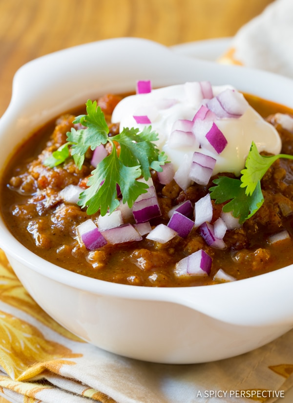 The Best Pumpkin Chili Recipe (Healthy and Gluten Free!) | ASpicyPerspective.com