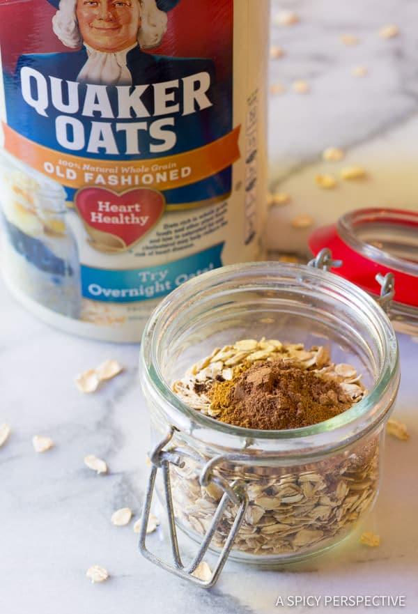 Making Pumpkin Spice Latte Overnight Oatmeal Recipe | ASpicyPerspective.com