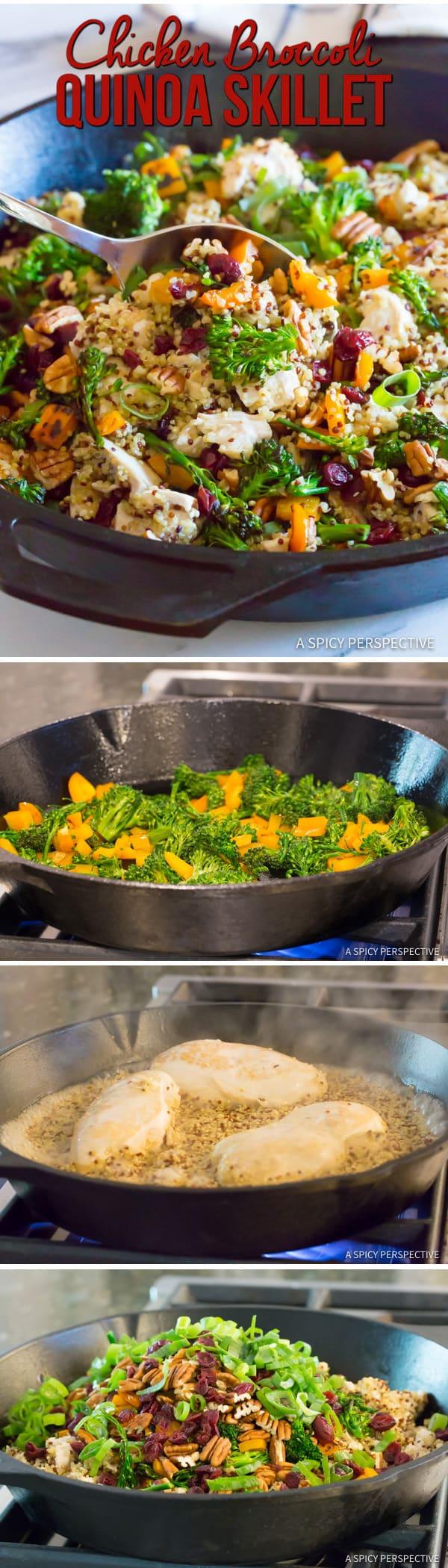 Healthy One-Pot Chicken Broccoli Quinoa Skillet Recipe   ASpicyPerspective.com