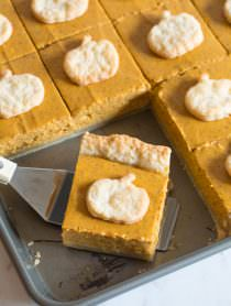 Secret Ingredient Perfect Pumpkin Slab Pie Recipe | ASpicyPerspective.com #halloween #thanksgiving