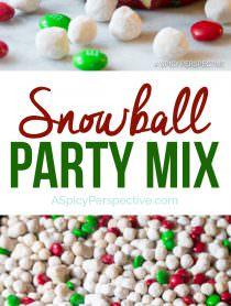 Festive Snowball Party Mix | ASpicyPerspective.com #christmas #ediblegifts