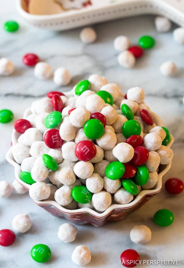 Fun Snowball Party Mix | ASpicyPerspective.com #christmas #ediblegifts