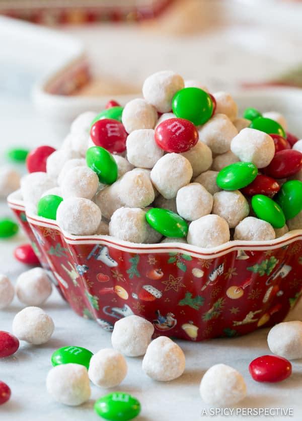Snowball Party Mix | ASpicyPerspective.com #christmas #ediblegifts