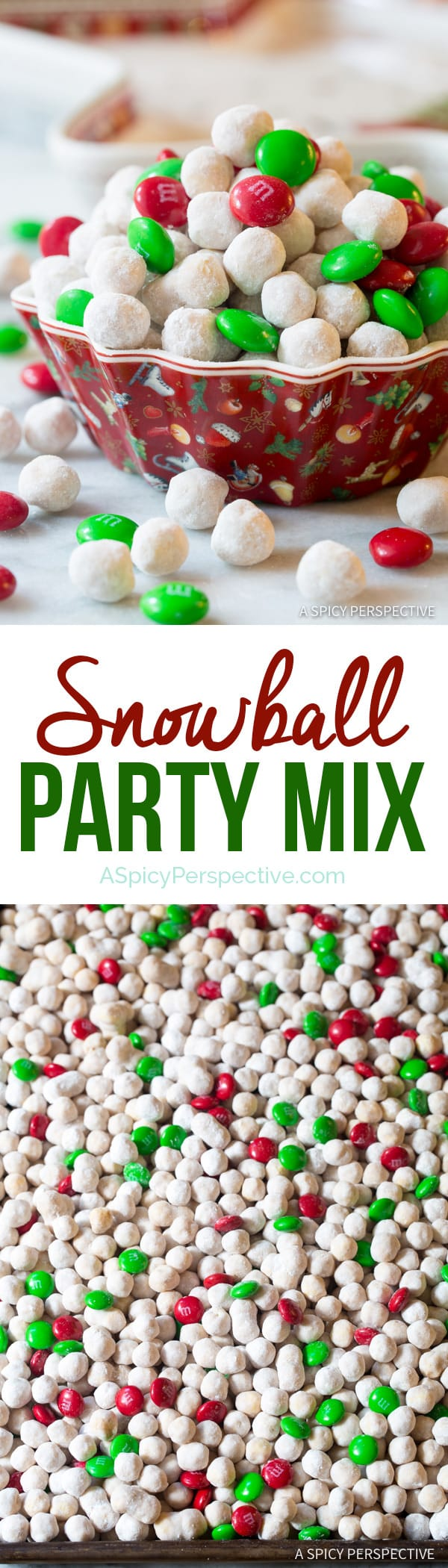 Festive Snowball Party Mix | ASpicyPerspective.com #christmas #ediblegifts
