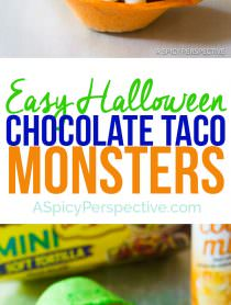 Easy Chocolate Taco Monsters for Halloween!   ASpicyPerspective.com