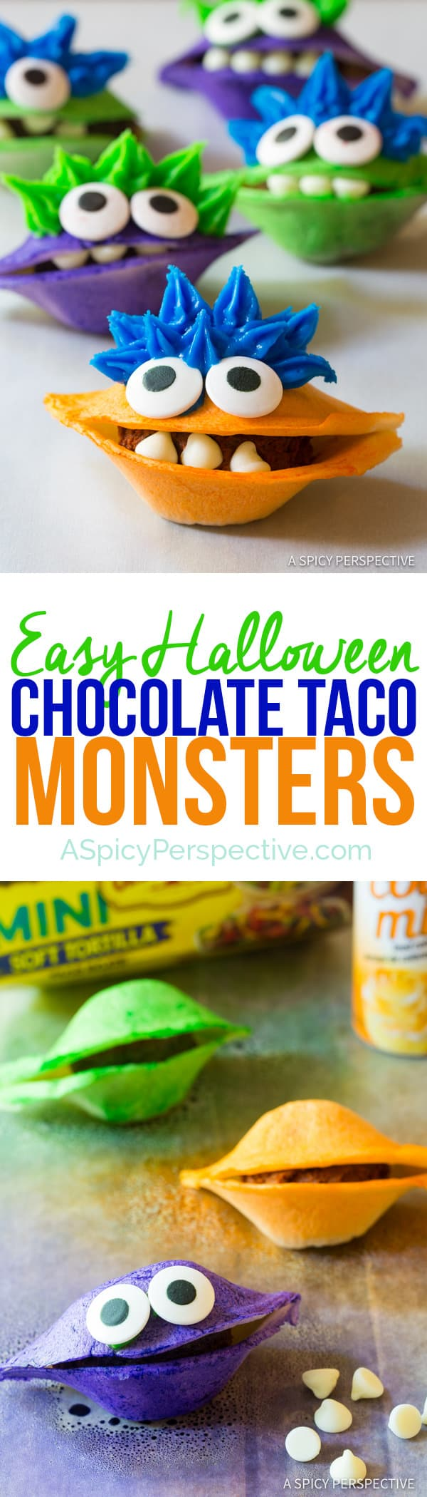 Easy Chocolate Taco Monsters for Halloween! | ASpicyPerspective.com