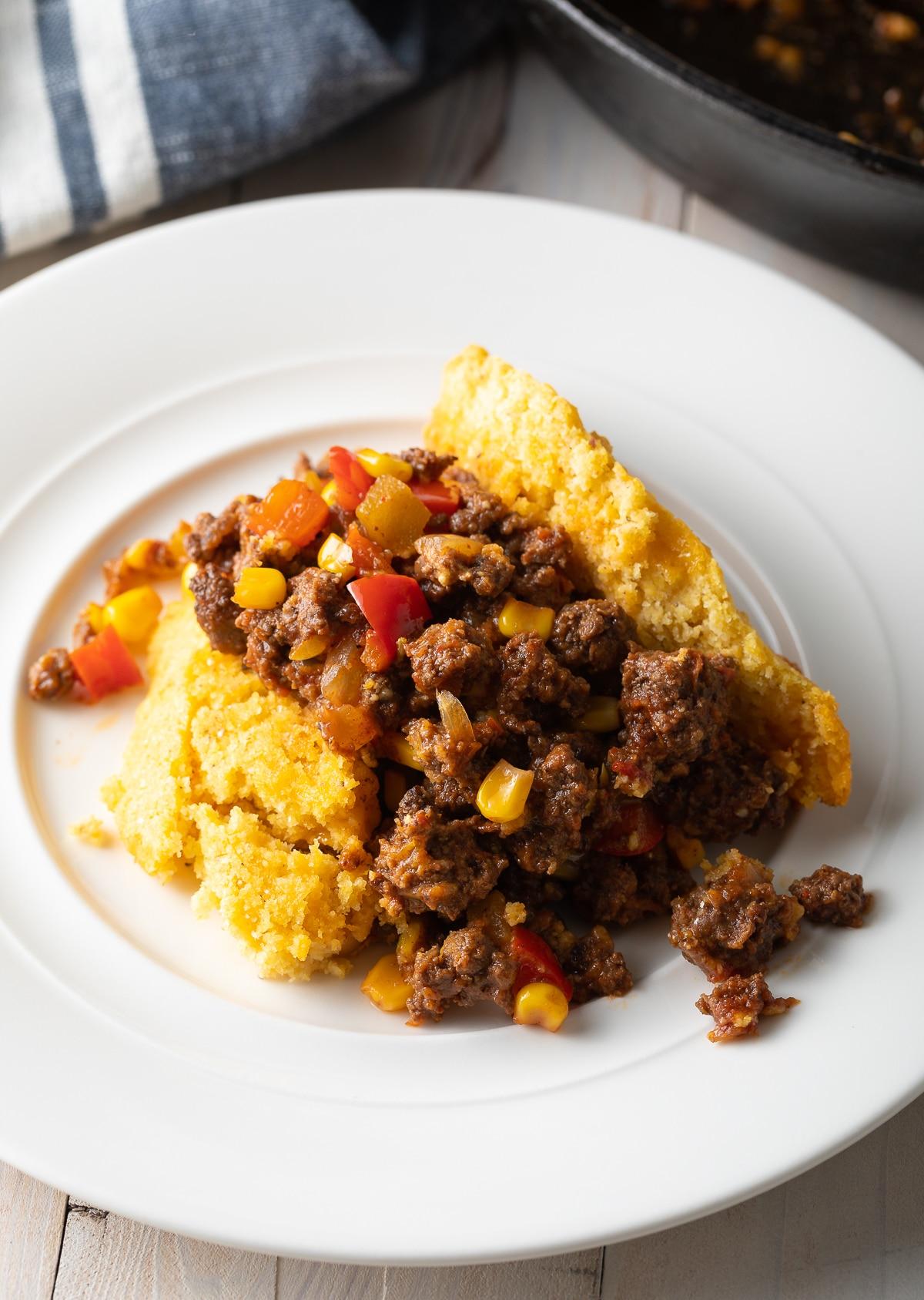One-Pot Tamale Pie Recipe - Easy to Make and Gluten Free! #tamales #tamalepie #glutenfreedinner #glutenfreerecipe #aspicyperspective