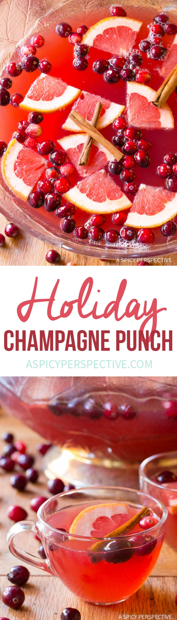 Sparkling Holiday Champagne Punch Recipe on ASpicyPerspective.com # ...