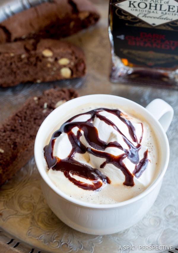 Heavenly Chocolate Brandy Latte Recipe | ASpicyPerspective.com