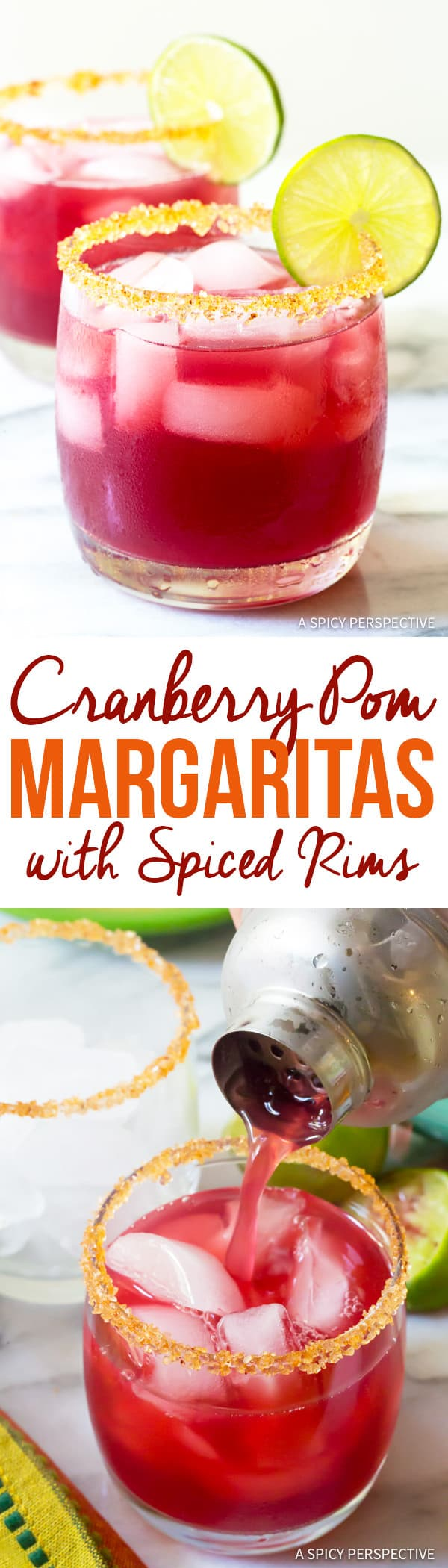Dazzling Cranberry Pomegranate Margarita with Spiced Rim Recipe   ASpicyPerspective.com