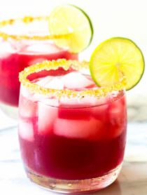 Cranberry Pomegranate Margarita with Spiced Rim Recipe | ASpicyPerspective.com