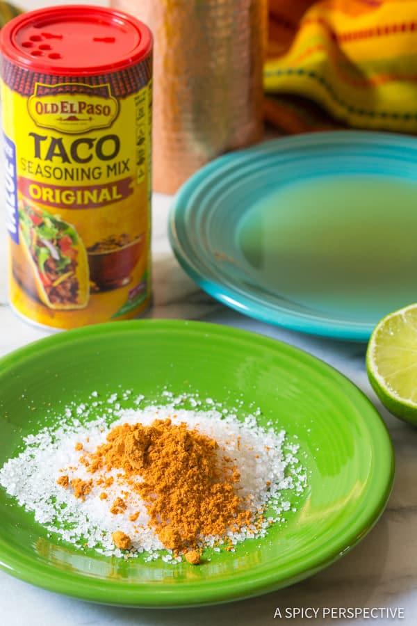 Making Cranberry Pomegranate Margarita with Spiced Rim Recipe | ASpicyPerspective.com