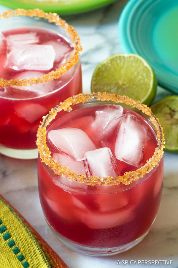 Easy Cranberry Pomegranate Margarita with Spiced Rim Recipe | ASpicyPerspective.com
