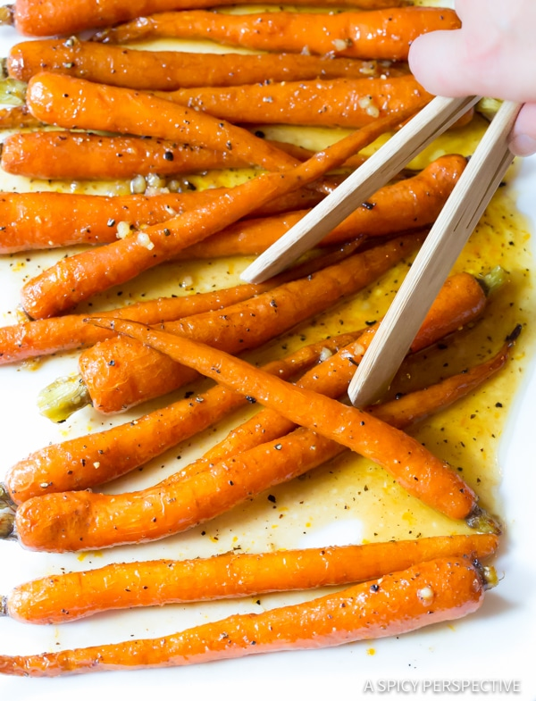 Perfect 5-Ingredient Honey Butter Roasted Carrots | ASpicyPerspective.com #holiday