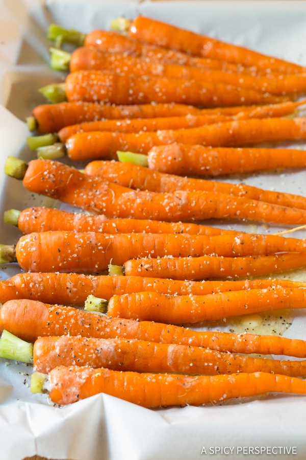 How to Make 5-Ingredient Honey Butter Roasted Carrots | ASpicyPerspective.com #holiday #recipe