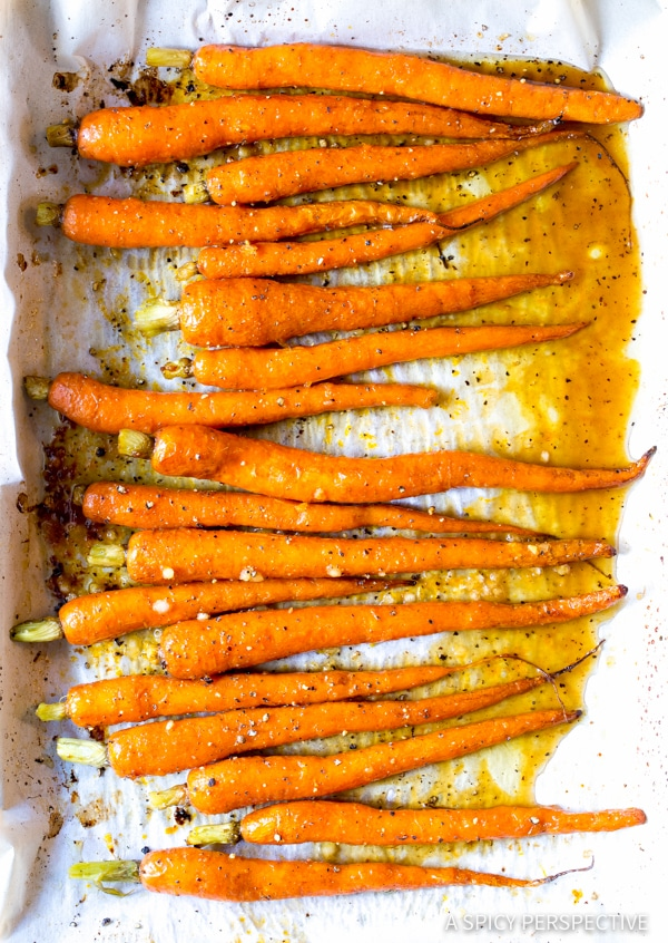 Best 5-Ingredient Honey Butter Roasted Carrots | ASpicyPerspective.com #holiday #recipe