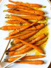 Easy 5-Ingredient Honey Butter Roasted Carrots   ASpicyPerspective.com #holiday