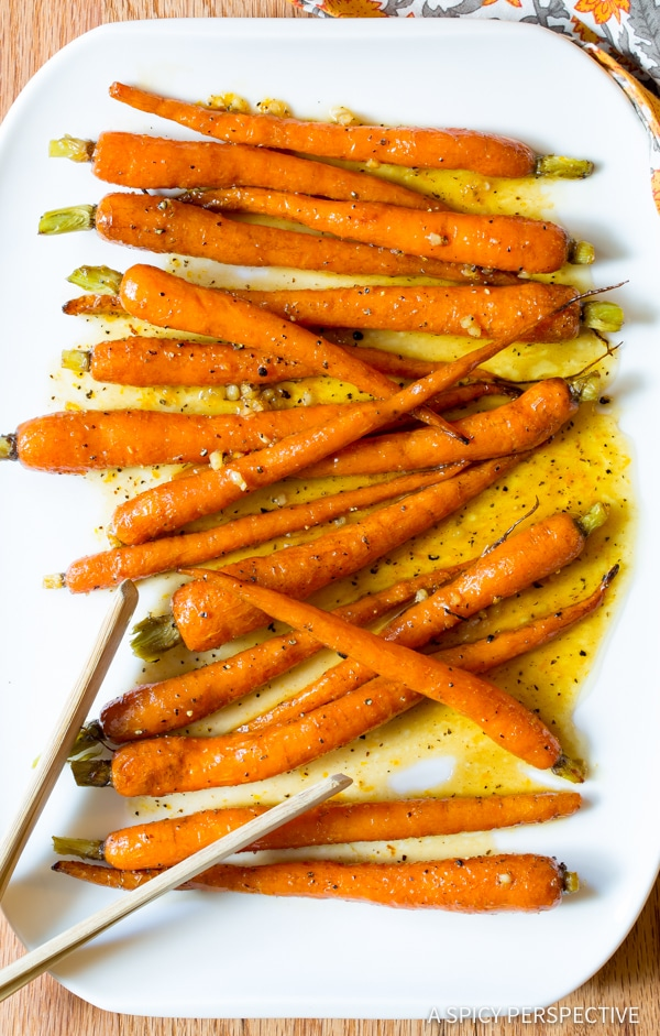 Easy 5-Ingredient Honey Butter Roasted Carrots | ASpicyPerspective.com #holiday