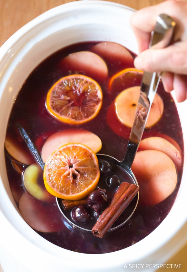 Festive Mulled Wine (Hot Wassail Recipe) on ASpicyPerspective.com #christmas #holiday