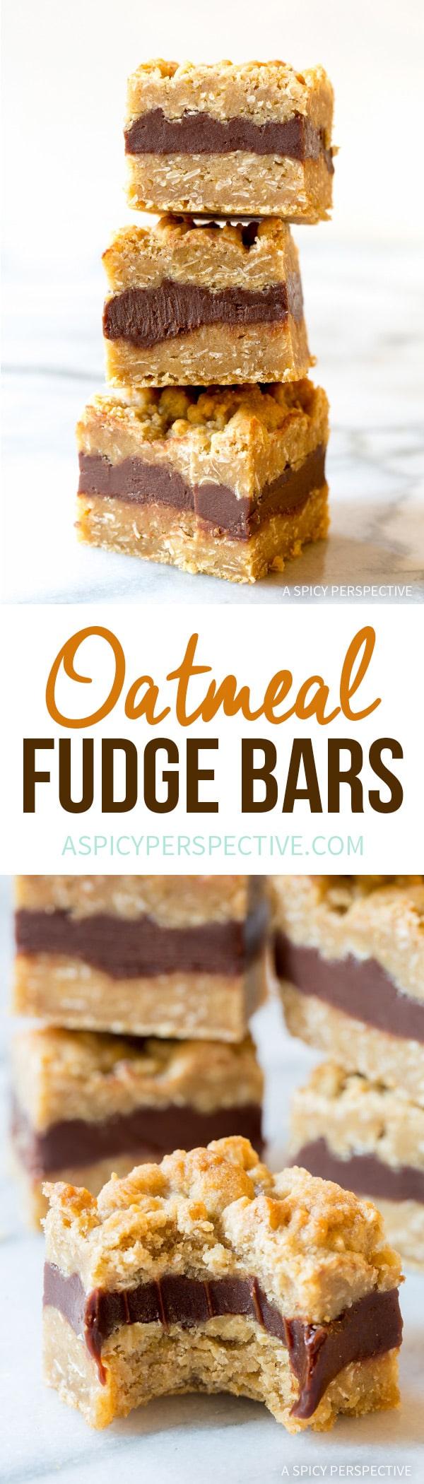 Oatmeal Fudge Bars Recipe | ASpicyPerspective.com