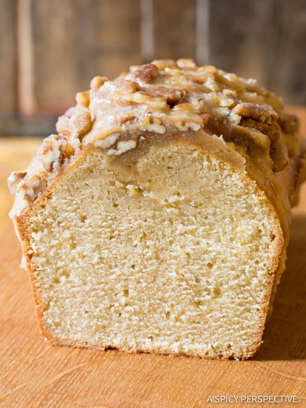 Amazing Pecan Praline Pound Cake Recipe | ASpicyPerspective.com