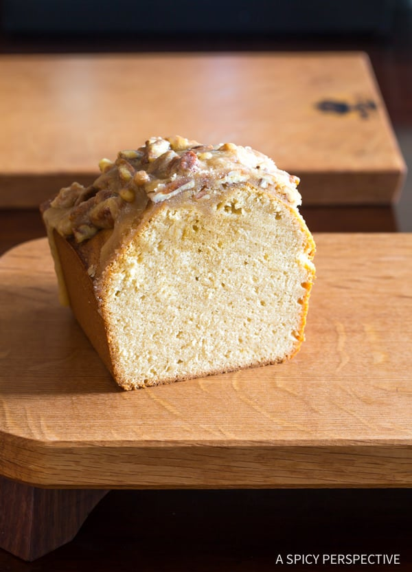 Simple Pecan Praline Pound Cake Recipe | ASpicyPerspective.com